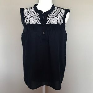 J. Crew Embroidered Yoke Tank Top Size 10